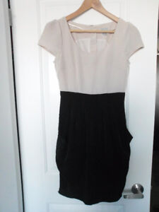 H&M: Beige and Black Knee Length Dress (Size 4)