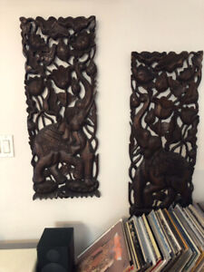 Hand crafted Teak wood wall hanging from Thailand