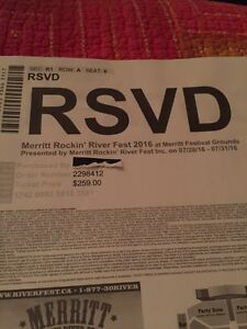 Merritt Rockin River Fest ticket & Camping and Party Zone
