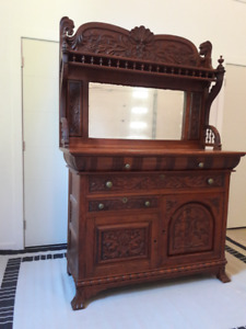 ANTIQUE SIDEBOARD BUFFET WITH MIRROR - $1700 (SOUTH SURREY)