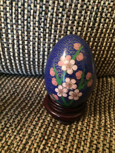 Vintage Chinese Cloisonné Decorated Eggs on Wood Stands