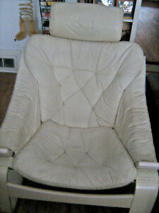White Leather Modern (low seat) CHAIR--$20.