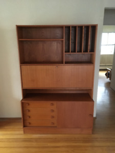 Mid century teak drop desk storage unit combo