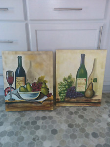 Two Wine Canvass Paintings