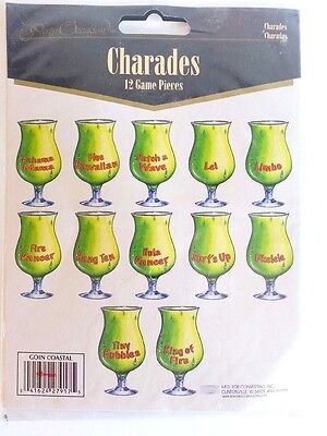 Charades Luau Party Game 12 pcs Paper Drink Game Pieces Adult Game Summer BP - Adult Luau Games