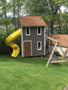 2 Story Playhouse with slide, swing, rope  - wired and insulated