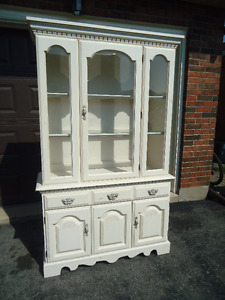 """WHITE HUTCH - 48"""" WIDE - CAN BE PAINTED - 2 PIECES"""