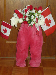 Handmade planters made from childrens' shorts, overalls & kilts