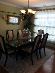 Fine dining table with six chairs and china cabinet