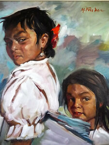 "Beautiful Indigenous Original Painting by M. Fischer ""Sisters"" Stratford Kitchener Area image 3"