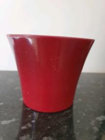 Small Ceramic Plant Pot - Dark Red