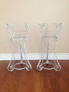 Pair Of Metal White Plant Stands
