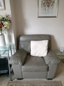Harvey's 3 seater sofa and chair, grey leather