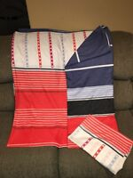 Twin Duvet cover, Red/White/Black/blue and pillow case