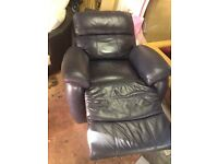 Blue leather electric recliner