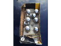 Set of 8 chrome door knobs handles