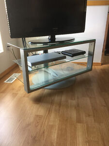 Rotating Glass TV Stand