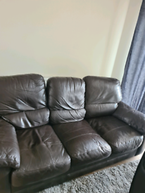 FREE TO COLLECTOR Brown leather 3 seater 2 seater sofa & footstool