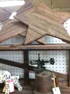 Hand crafted wooden stars, crates, ladders furniture & more