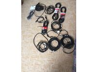 6 midi cables and 5 guitar/keyboard cables