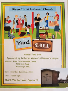 Yard Sale @ Risen Christ Lutheran Church