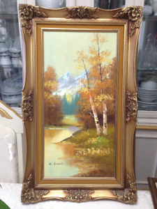 """Oil on canvas, 17"""" x 30.5"""" with frame, signed"""