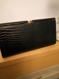 Vintage stylish black leather clutch bag