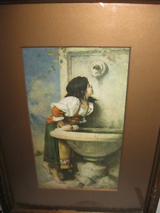 Roman girl at fountain signed by Leon Bonnat