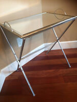 accent table silver with mirror top