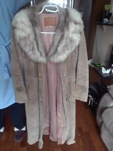 Suede Fur Collar Coat