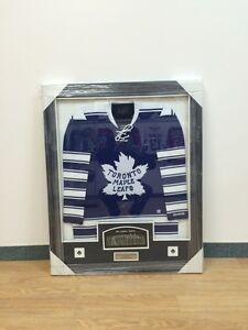 Triple signed toronto maple leafs framed and signed jersey