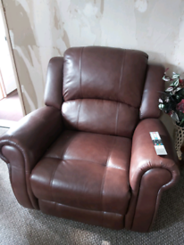 Brown leather 3 piece suite of furniture