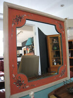 Vintage Wooden Folk Art Mirror