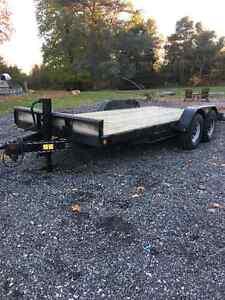 Trailer 12klb tandom 18ft deck, beaver tail utility construction