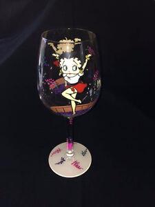 Hand Painted Betty Boop Wine glass