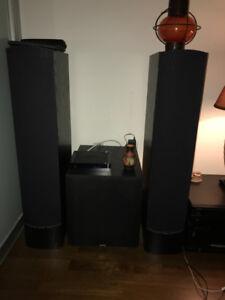 Paradigm Speakers.  PDR 12 Subwoofer, Monitor 7 V3 tall speake