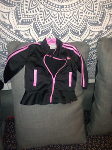ADIDAS black and pink jacket/pant set 18 months