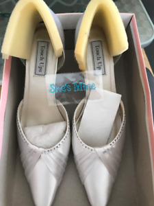 Wedding Shoes Size 10, White Silk Clutch
