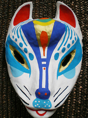 Japanese fox mask ( Miyazima kitsune ) Blue