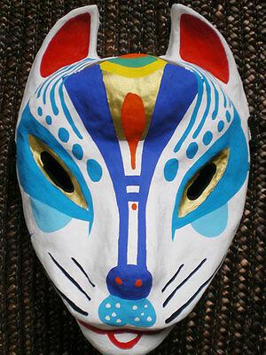 Japanese fox mask ( Miyazima kitsune ) Blue