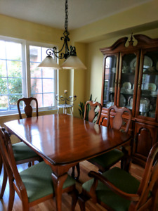 Solid Maple Dining Table And Hutch