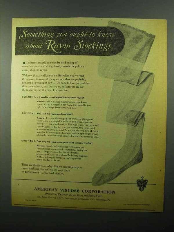 1943 American Viscose Corporation Rayon Stockings Ad