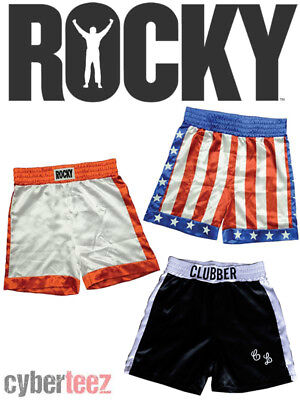 ROCKY BALBOA or APOLLO CREED or CLUBBER LANG Boxing Trunks Shorts - Apollo Creed Shorts