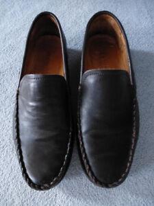 "$495 John Varvatos Brown Leather Loafers, Mens, 8 ""fits 8.5"" M"