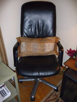 Genuine Leather-Black Chair (Desk/Computer)