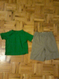 Toddler green crewneck and shorts both for 5 dollars