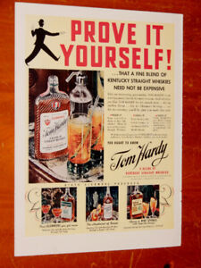 COOL 1939 TOM HARDY KENTUCKY WHISKEY VINTAGE AD  - ANONCE RETRO