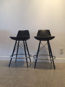2 Black Leather Eames Inspired Bar Stools with Back