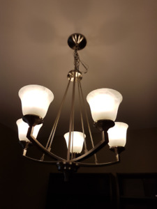 5 Light -Brushed Nickel Chandelier-Mint Condition