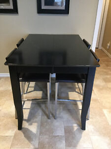 Solid wood black counter-height table